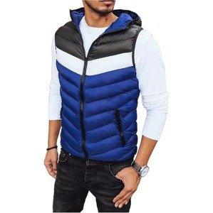 Modro-černá pánská prošívaná vesta s kapucí vel. 2XL