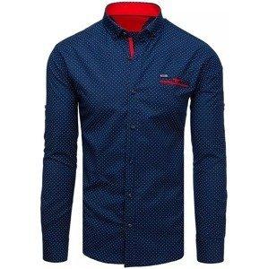 Modrá tečkovaná košile s imitací kapsy vel. M