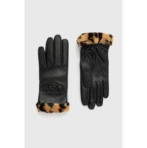 UGG - Kožené rukavice Logo Tech