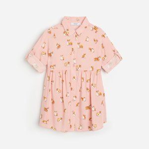 Reserved - Vzorovaná viskózová košile - Růžová
