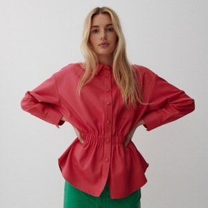 Reserved - Košile z imitace kůže - Růžová