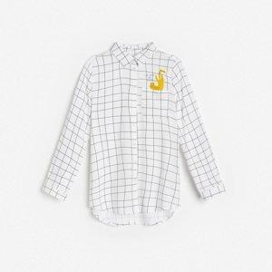 Reserved - Kostkovaná košile skapsou - Bílá