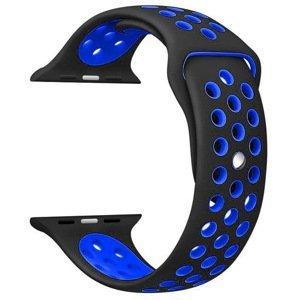 4wrist Silikonový řemínek pro Apple Watch - Černá/Modrá 42/44 mm