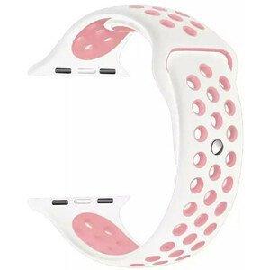 4wrist Silikonový řemínek pro Apple Watch - Bílá/Světle růžová 38/40 mm