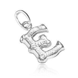 Stříbrný přívěsek 925 - vyřezávané písmeno E