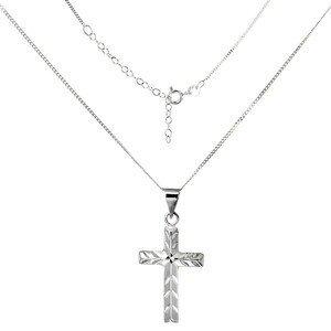 Náhrdelník ze stříbra 925 - křížek se šikmými zářezy