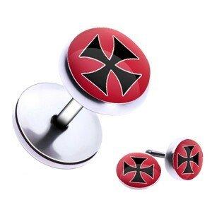 Ocelový fake piercing do ucha - maltézský kříž