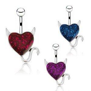 Ocelový piercing do pupku - barevné čertovské srdíčko - Barva zirkonu: Modrá - B
