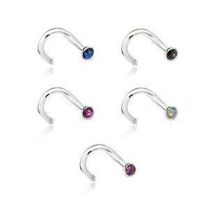 Zahnutý ocelový piercing do nosu s barevnými třpytkami - Barva: Růžová