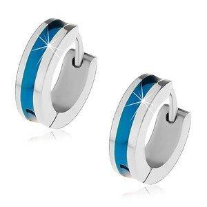 Ocelové náušnice stříbrné barvy s modrým pruhem uprostřed
