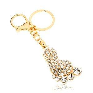 Přívěsek na klíče ve zlaté barvě, třpytivé chodidlo, čiré zirkony