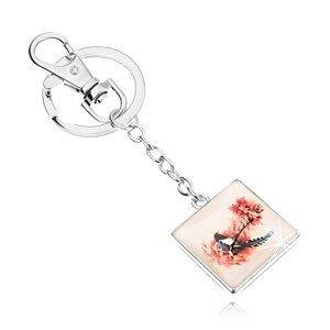 Přívěsek na klíče ve stylu kabošon, čtverec, vypouklé sklo, pták na stromě