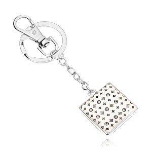 Přívěsek na klíče kabošon, čtverec s glazurou, drobný vzor na bílém podkladu