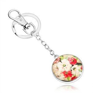 Přívěsek na klíče ve stylu kabošon, vypouklé sklo, bílé a červené květy