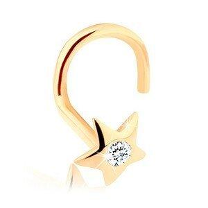 Zlatý piercing do nosu 585 - blýskavá hvězdička se zirkonem