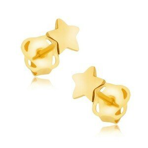 Náušnice ve žlutém 14K zlatě - zrcadlově lesklá pěticípá hvězdička