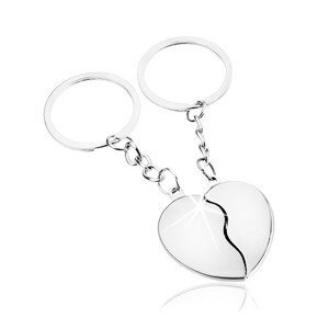 Přívěsky na klíče pro pár, stříbrný odstín, rozdělené srdce - dvě poloviny