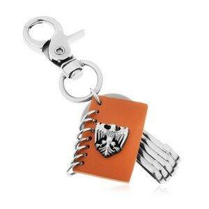 Přívěsek na klíče s patinovaným povrchem, hnědá umělá kůže, znak orla