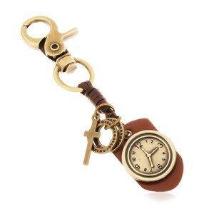 Klíčenka v mosazném odstínu, syntetická kůže s hodinami, kruhy a kříž
