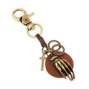 Patinovaná klíčenka v mosazné barvě, kruh z umělé kůže s rukou, kruhy, kříž