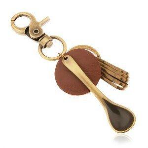 Přívěsek na klíče v mosazném odstínu, kruh z hnědé umělé kůže, lžíce