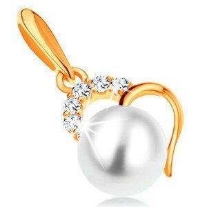 Zlatý přívěsek 585 - bílá kulatá perla v obrysu nepravidelného srdce
