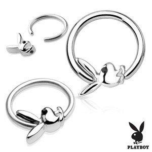 Piercing, kroužek z chirurgické oceli stříbrné barvy se zajíčkem Playboy - Tloušťka piercingu: 1,2 mm
