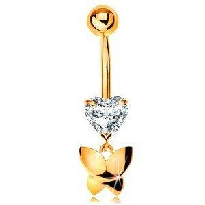 Zlatý 375 piercing do pupíku - čiré broušené srdíčko, visící lesklý motýl