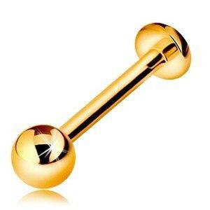 Zlatý 14K piercing do rtu nebo brady - labret s kuličkou a kolečkem, 12 mm