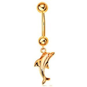 Zlatý 585 piercing do pupíku - banánek se dvěma kuličkami a visící lesklý delfín
