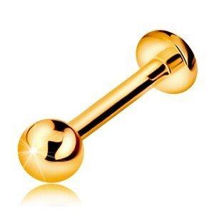Zlatý 375 piercing do rtu, brady a nad ret - lesklá hladká kulička, 8 mm