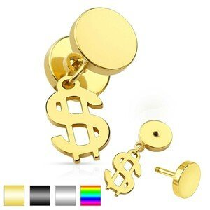 Nepravý plug do ucha z chirurgické oceli, lesklé kruhy, symbol dolaru - Barva piercing: Duhová