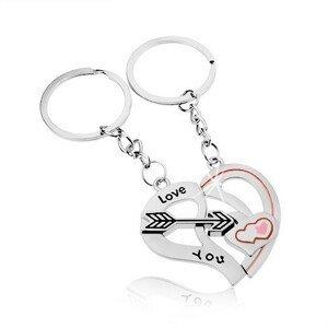 Ocelové klíčenky pro dvojici, stříbrná barva, dvě poloviny srdce, šíp, nápis