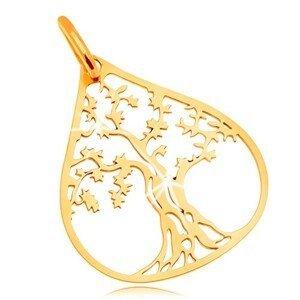 Přívěsek ve žlutém 14K zlatě - košatý strom v kontuře velké kapky