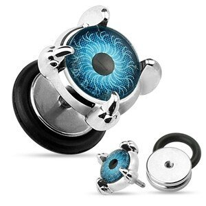 Fake ocelový plug do ucha - modré oko v drápech, kolečko s gumičkou