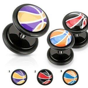 Akrylový falešný plug, barevný basketbalový míč, černé gumičky - Motivy: 01.