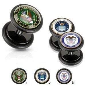 Akrylový fake plug černé barvy, vojenské motivy, černé gumičky - Motivy: 03.