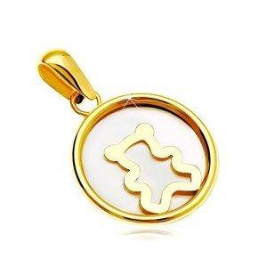 Přívěsek ze žlutého 14K zlata - kruh s bílou perletí a medvídkem