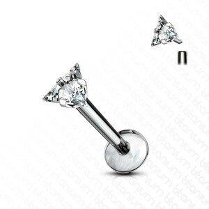 Titanový piercing do brady a rtu - čirý blýskavý zirkon se třemi hroty - Délka piercingu: 8 mm