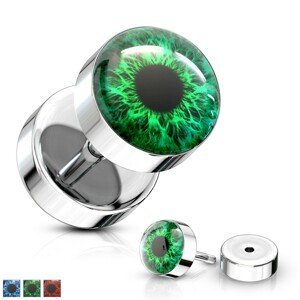 Falešný plug z oceli 316L - barevné oko s černou zorničkou, čirá glazura - Barva piercing: Zelená