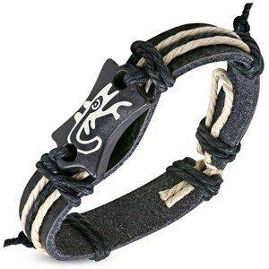 Černý náramek z umělé kůže - známka s motivem ještěrky a šňůrky