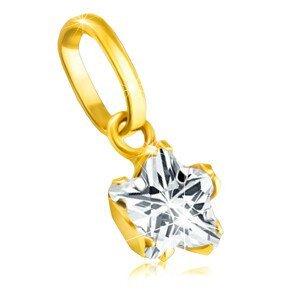 Přívěsek ve žlutém zlatě 375 - pěticípá zirkonová hvězdička v kotlíku