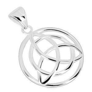 Přívěsek ze stříbra 925 - kruh s keltským symbolem Triquetra