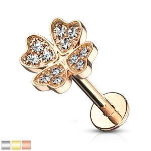 Piercing do ucha, brady nebo rtu - symbol štěstí s čirými kulatými zirkonky, 6 mm - Barva piercing: Zlatá