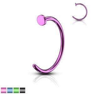 Piercing barevná podkova - anodizovaný titan, lesklý povrch, 0,6 mm - Průměr: 8 mm, Barva piercing: Fialová