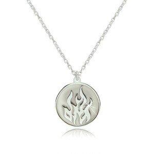 Stříbrný náhrdelník 925 - element ohně v kruhové lesklé linii