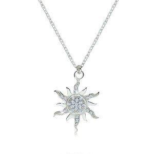 Stříbrný náhrdelník 925 - třpytivé zirkonové sluníčko se zvlněnými paprsky