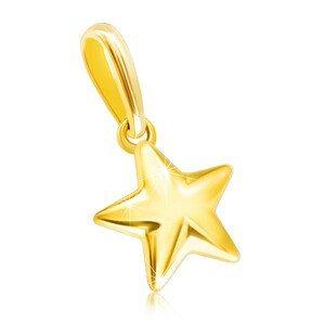 Přívěsek ve žlutém 14K zlatě - lesklá vypouklá hvězdička