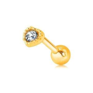 Zlatý 585 piercing do rtu nebo brady - kontura pravidelného srdíčka s čirým zirkonem