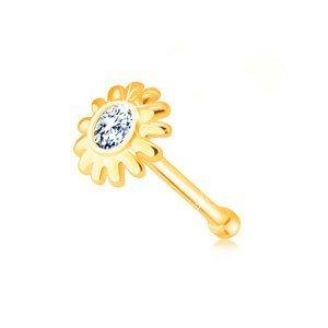 Zlatý 375 piercing do nosu - kvítek se zirkonem v čirém odstínu